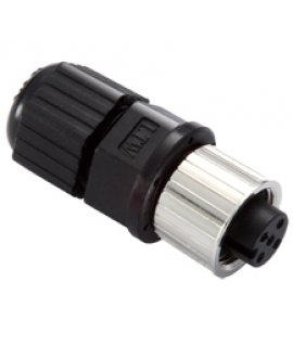 Field-installation A-coded screw-in power connector, 5-pin female M12 connector, IP68-rated